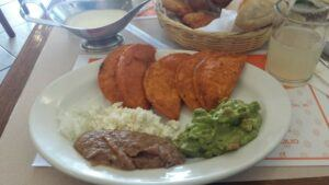 Enchiladas potosinas with refried beans, cream and guacamole.