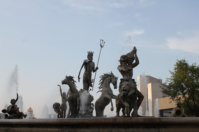 Fountain with Neptune and other Roman gods.
