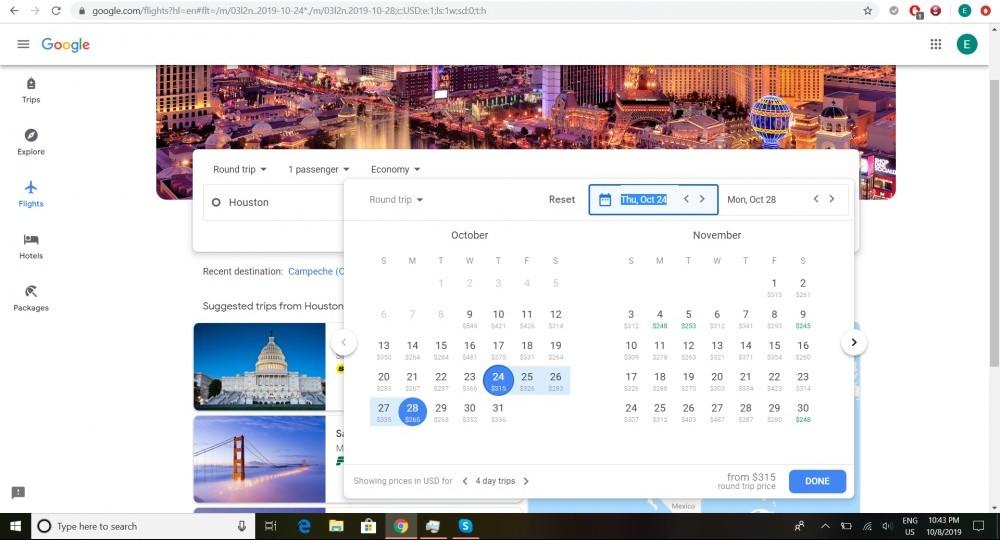 Screenshot of Google Flights in calendar mode.