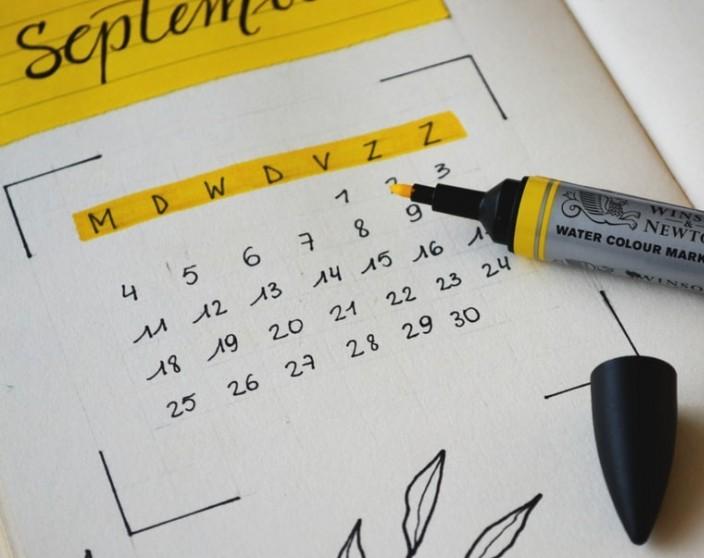 Calendar and marker.