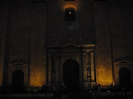 Dimly illuminated building in Merida, Yucatan at night.