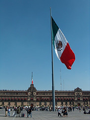 Zocalo in Mexico City with giant Mexican flag.