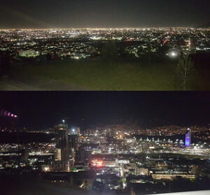 View of Monterrey from an observation deck at night.