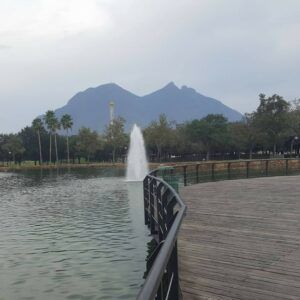 Parque Fundidora in Monterrey with the Cerro de la Silla as backdrop.