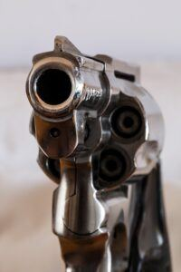 Close-up of a firearm.