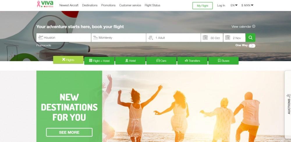 Viva Aerobus home page.