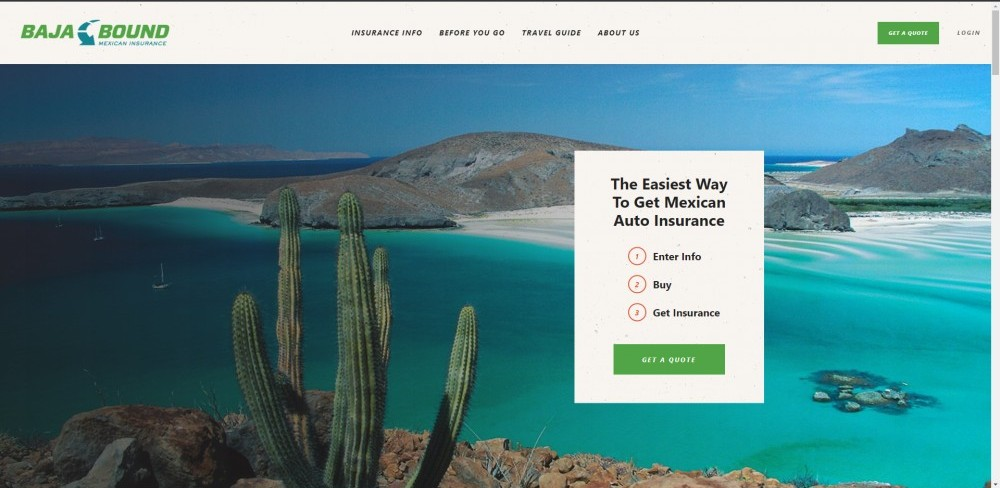 Screenshot of Baja Bound Insurance home page.