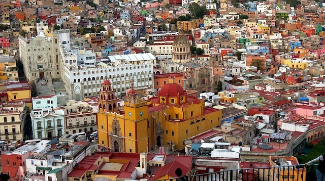 View of Guanajuato City with the yellow cathedral outstanding in the middle.