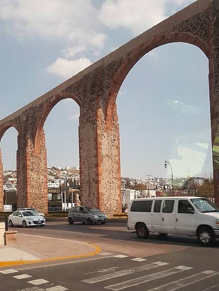 Close-up of the pink stone aqueduct in Queretaro City.