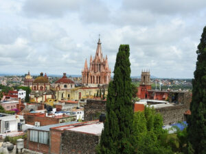 View of San Miguel de Allende with the Cathedral in the background.