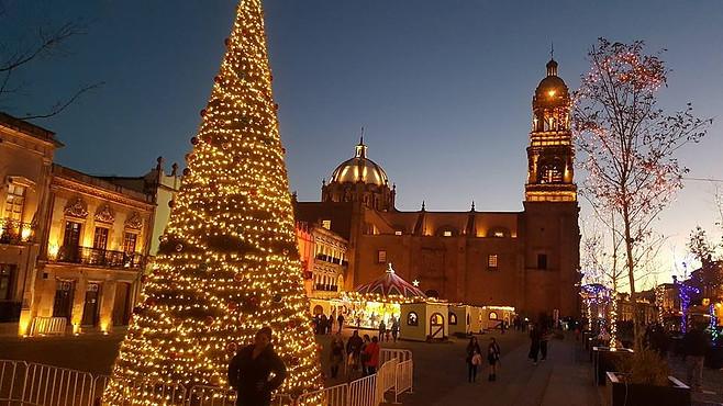 Illuminated buildings in Zacatecas City.