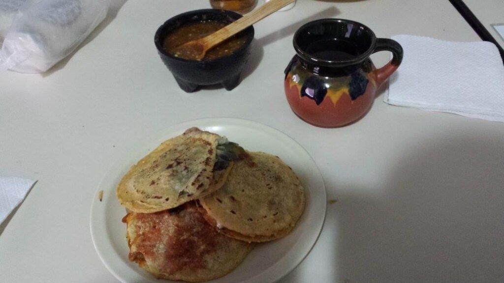 Gorditas, salsa, and cafe de olla.