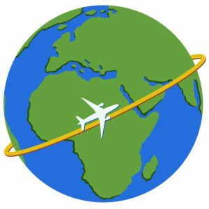Plane traveling around the world.
