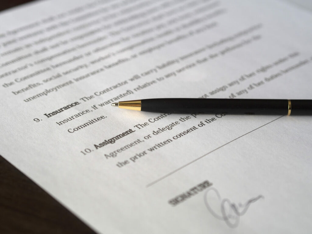 Black pen on a legal document.
