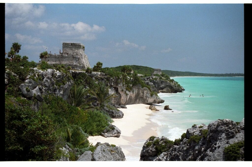 Side view of Tulum next to the Caribbean Sea.