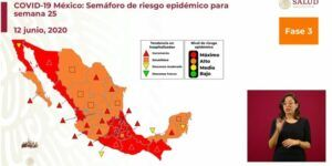 Mexico map showing covid-19 cases