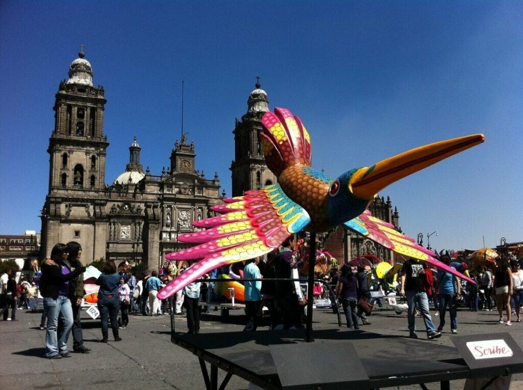 Mexican handcraft in front of the Cathedral of Mexico City.