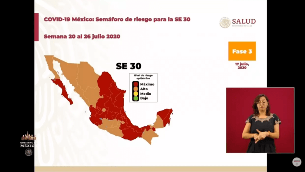 Covid-19 map of Mexico for July.