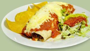 Enchiladas with lots of cheese.
