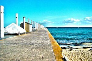 Sea wall in Playa del Carmen.