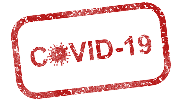 The word COVID-19 written in red letters inside a red rectangle.