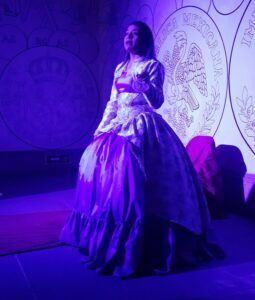 Actress dressed up as a princess.