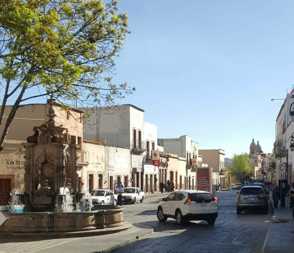 Fountain on a street in Zacatecas.