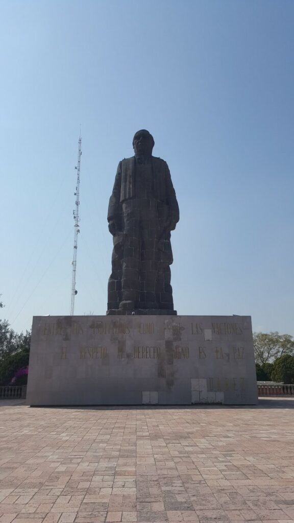 Giant statue of a popular Mexican president.