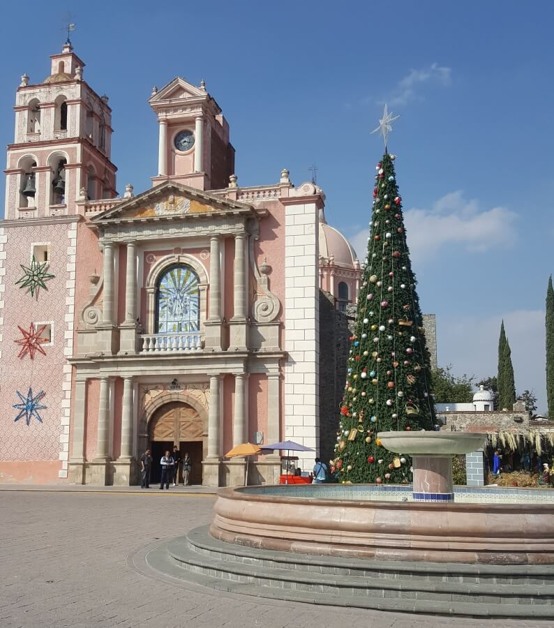 A pink church with a giant Christmas tree and a fountain on the side.