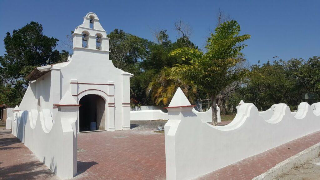 A whitewashed church.