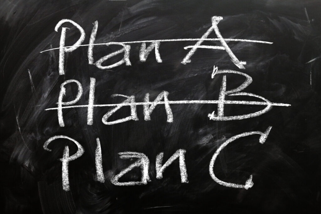 A blackboard with the words Plan A, Plan B, and Plan C written on it.