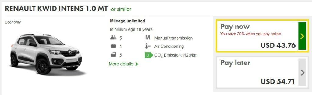 Europcar American site.