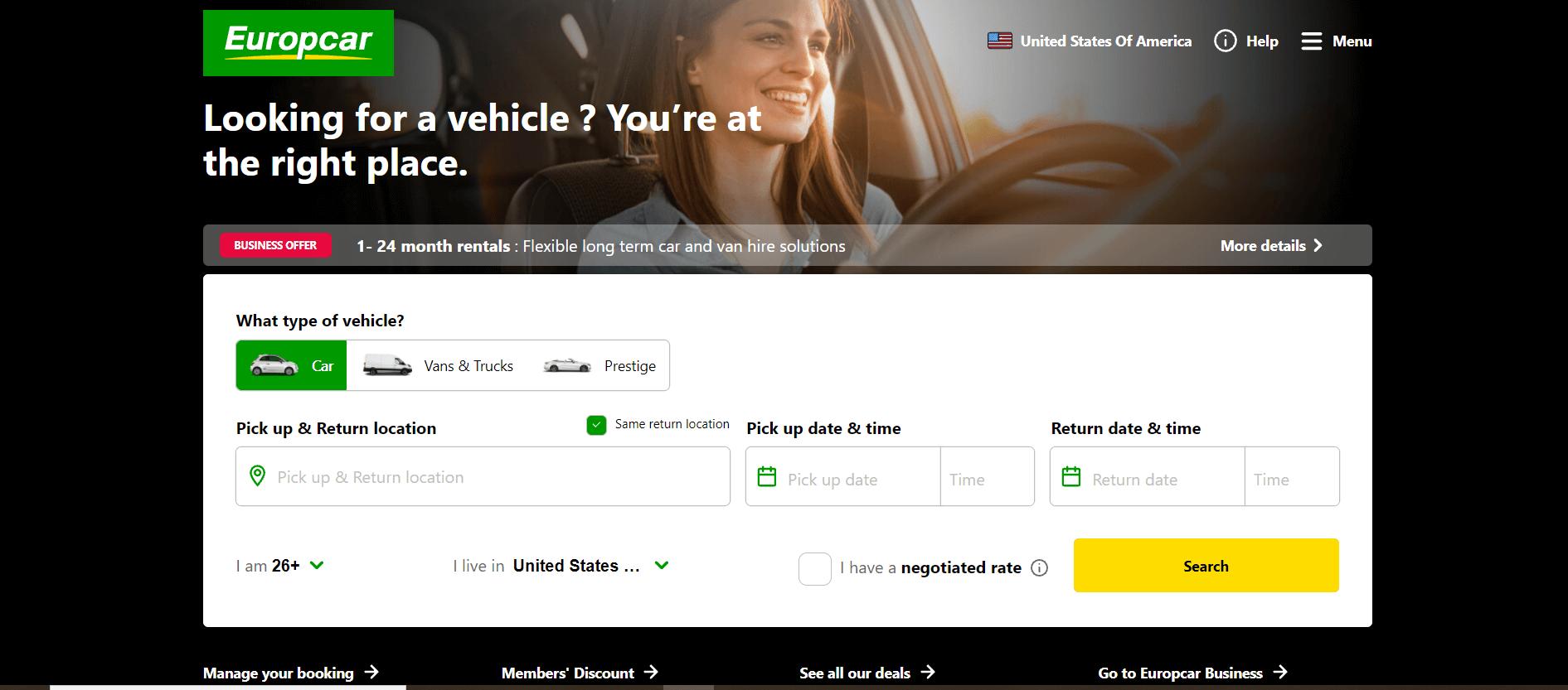 Europcar's homepage.